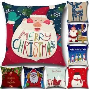 Nouveau Taie d'oreiller Santa Claus Sapin de Noël Bonhomme De Neige Elk Taie d'oreiller Coton Lin Taie D'oreiller Maison Canapé De Voiture Décor 45 * 45 cm En Stock WX-P06