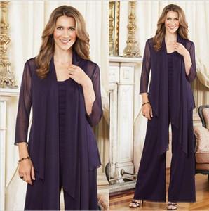 Düğün için Ceket Kadın Şifon Uzun Kollu Anne Örgün Elbise ile Gelin Pantolon Suits Of 2021 Zarif Mor Artı boyutu Anne