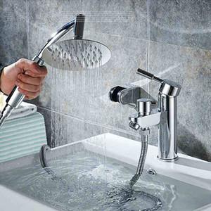 Wasserhahn Bad, Moderne mit Dusche Chrome einzigen Handgriff, Badewanne Wasserhahn mit Double-Dip-Multifunktionshebeschalter Komfort
