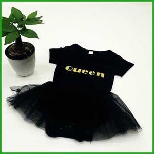 2016 yeni bebek kız tulum kraliçe mektuplar baskı katı siyah kısa kollu elbise bebek yürüyor hiqh kalite çocuklar tulumlar kıyafetler
