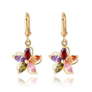 Vintage Ohrringe für Frauen 18K Gold Plated Fashion Statement Schmuck Bunte CZ Kristall Zirkon Drop baumeln Ohrringe Brincos