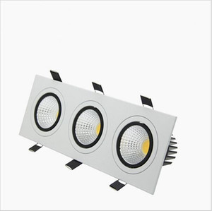 3 têtes led lumières encastrées carrées led down lights COB Dimmable 15W / 21W / 30W / 36W Spot LED Plafonnier AC85-265V puck light
