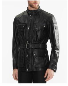 Chaquetas de cuero de diseño Hombres top top cuero de vaca chaquetas de cuero de cabalgatas cuello suave bolsillos inclinados liso suave s-xxxl