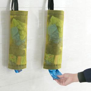 Titular de la bolsa de plástico y dispensador de poliéster rejilla transparente para colgar bolsas de basura de baño bolsa de almacenamiento de cocina compras de comestibles herramienta WX9-82