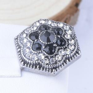 Ретро полный горный хрусталь 18 мм щелкает кнопку старинные цветок Оснастки кусок Шарм кнопка, пригодный для Diy ювелирных изделий Noosa кожаные браслеты женщин подарок
