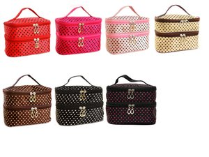 Fashion Lady Girl Small Dots Lovely Multicolors Mix Portable Wash Makeup Bag Polyester Double Layer Cosmetic Bag ELB029