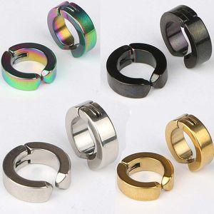 Pendientes de acero inoxidable de 4 colores para hombres, mujeres pendientes de hipoalergénico de acero de titanio sin orejas perforadas Pendientes con clip Colorido 4x9 mm