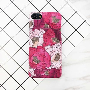 Elegante flor vermelha pintar phone case para iphone 7 7 plus moda hard case voltar casos capa para iphone7 7 plus