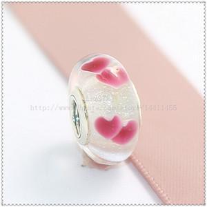 2016 Nouveau 5 pcs 925 Sterling Argent Vis Core Lampwork Rose Sauvage Coeurs Perles De Verre De Murano Fit Pandora Européenne Charme Bracelets