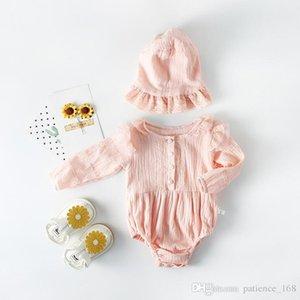 INS heißen Verkauf neue Herbstkinder Kinder Strampler Baumwolle einfarbig Baby Klettern Kleidung Prinzessin langärmelige Spitze Strampler hochwertige Baumwolle