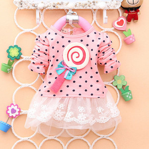 Lace Dress Baby Kid Girl Lollipop Polka Long Sleeve Lace Dress Bow Tutu Dress 2-4Y Princess