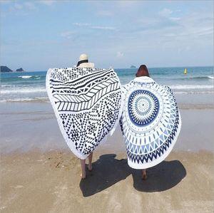Очищенное пляжное полотенце с кисточкой Активного Круг Большого Printed Гобелен Индийского Mandala Круглой Загорать шаль полотенце шали Wrap Yoga Mat