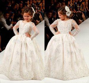 2017 Yeni Ucuz Çiçek Kız Elbise Düğün İçin Beyaz Jewel Boyun Uzun Kollu Dantel Aplikler Boncuklu Doğum Günü Çocuk Kız Pageant Törenlerinde
