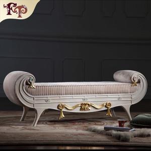 Versailles bed end bench muebles clásicos franceses, muebles de dormitorio antiguos clásicos europeos de lujo de madera maciza bed end bench Envío gratis