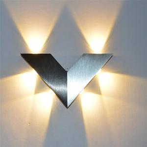 LED Üçgen Duvar Işık AC90-260V 6W 6 LED V şekli alüminyum LED İç Duvar Lambası Home For Aydınlatma Dekorasyon