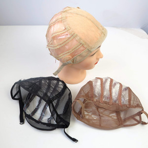 Wig Caps For Making Wigs Black Brown  Blonde Color With Adjustable Strap lace wig cap free shipping