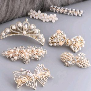 Free shipping 10pcs lot Pearl hair accessories hair clip flower hair ornaments For Jewelry Gift HJ001