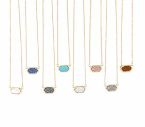 Wholesale-Fashion Choker Necklace for Women 2016 Claw Cute Faux Quartze Oval Pendant Druzy Necklace Jewelry for Women