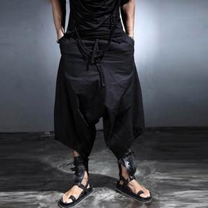 Al por mayor-2016 Harajuku gótica entrepierna de la gota para hombre de carga pantalones anchos de la pierna punk hombres ocasionales de la manera pantalones flojos de los hombres corredores Culottes negro