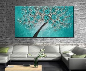 Flowering trees, Pure Handicrafts Modern Abstract Art Oil Painting,Home Wall Decor On High Quality Canvas size can be customized