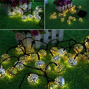 Fas 20LED topu güneş dize ışık güneş Lambası Serisi Demir Kaplama Top Lamba Ev Dekoratif Lamba