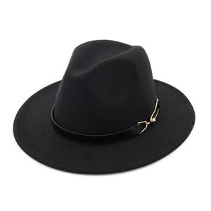 Avrupa ABD erkekler kadınlar yün Kayışı fötr şapkalar Geniş Brim Caz şapka Sonbahar Kış panama Cap Trilby Chapeau Unisex keçe