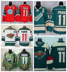 2016 Minnesota Wild 11 Zach Parise Camisetas de hockey sobre hielo Equipo color por mayor Rojo Verde Blanco Camo Stadium Series Zach Parise Jersey barato