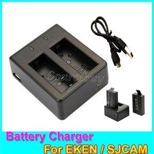 Eken sjcam bateria dupla portas duplas mini usb cabo carregador de bateria para sj4000 sj5000 wi-fi h9 w9 a9 series ação esportes câmeras acessórios