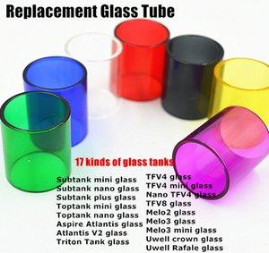 Tubo de Vidro de Substituição colorido para Subtank Toptank Mini Nano Atlantis Triton TFV4 TFV8 Melo2 Melo3 Mini Uwell Coroa Rafale Tanque DHLFREE