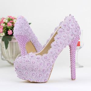 أحذية الزفاف اللون الأرجواني سيدة جميلة أنيقة فستان الزفاف أحذية جولة تو الربيع التخرج Partty مضخات حفل أحذية