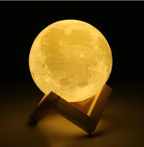 Şarj edilebilir 3D Baskı Ay Lambası 2 Renk Değişimi Dokunmatik Anahtarı Yatak Odası Kitaplık Gece Işığı Ev Dekorasyonu Yaratıcı Hediye