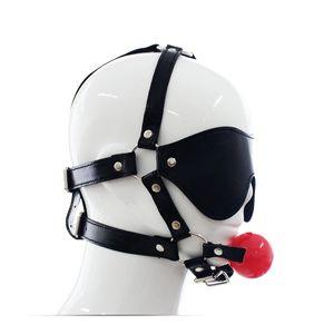 Gag Ball Ball Blindfold Leather Head Arnés Mask Restricción Bondage Fetish Slave # R501