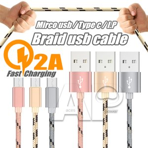 3ft 6Ft Soutien Braid ligne de données rapide Câble chargeur rapide mâle en nylon Câbles Pour Type C Micro V8 Android