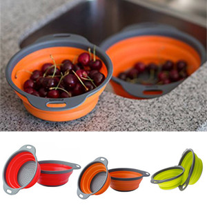 2 Teile / satz Faltbare Silikon Colander Falten Mesh Sieb Obst Gemüse Sieb Home küche Zubehör Werkzeug