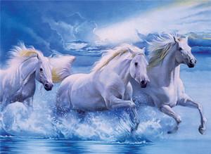 5d الماس التطريز التطريز diy الماس اللوحة عبر الابره مجموعات الحيوان الحصان الأبيض البحر الكامل جولة الماس الفسيفساء غرفة ديكور yx0695