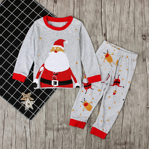 INS Baby Clothing Boys Girls Christmas Santa Claus Pajamas Kids Autumn Long Sleeve Tops+Printed Pants 2pcs Xmas Sets