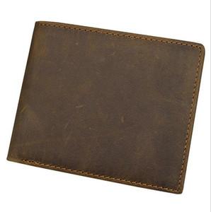 2017 جودة عالية خمر الرجال المحفظة ريال مجنون الحصان الجلود محفظة جلد البقر حامل بطاقة عملة جيب مخلب حقيبة