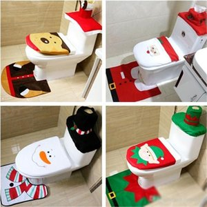 New 4 styles Christmas Toilet Seat Cushion Bathroom creative layout supplies Three piece suit Christmas decorations