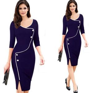 2020 Novo Venda outono vestidos para senhoras Vestido justo Trabalho Moda S-3xl Formal Quarter Roupa Três luva Joelho de comprimento V-neck de Mulheres