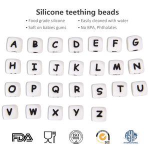 26 Carta / set Cuentas de silicona BPA sin bricolaje Loose Beads para dentición Collar y chupete Clip de calidad alimentaria ABC Letras Silicona Loose Beads