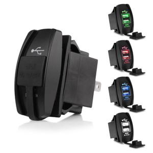 Dual usb carregador de carro 3.1a dupla usb soquete adaptador de carro poder azul led pour telefone de alta qualidade