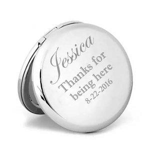 mini New Personalized Compact Mirror Wedding Bridesmaid Gift Custom Engraving Pocket Magnifying Makeup Mirror wholesale free shipping
