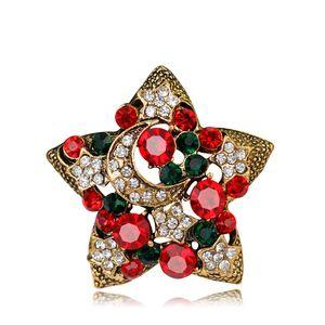 Novo Natal Jóias Multicolor Cristal Pentagrama Broches Antique Gold Alloy Strass Estrela Broche Traje Pinos XMAS Presentes para As Crianças