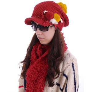 Al por mayor-YM-11 # Mujeres Bowknot Beads Decor Hat Flouncing Hem Wool Scarf