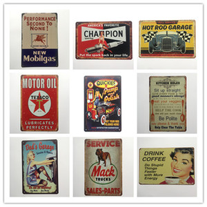 Champion Motor Oil Mack Kitchen Rules Garage Coffee Retro rustic tin metal sign Wall Decor Vintage Tin Poster Cafe Shop Bar home decor