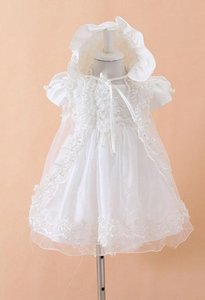 White Lace Baby Christening Baptism Gowns Tulle 2020 Flower Girl Dresses Cute Beaded Floor-Length In Stock 3 Pieces Princess Tutu Ball Gowns