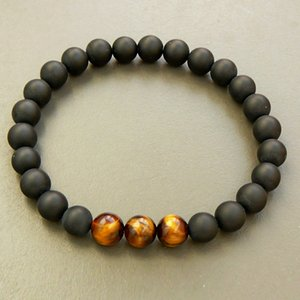 SN0325 Großhandel Herren Armband Schwarz Onyx Armband Tigerauge Perlen Armband 19cm Länge Naturstein Stretch Armbänder
