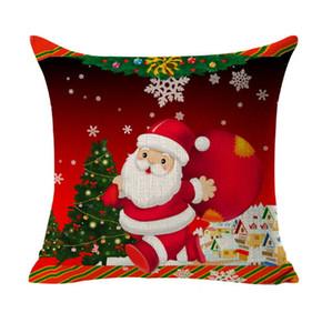 Christmas Sofa Cushion Cover Decoration Square Pillowcase Printed Tree Ornament Gift Home Decor Linen Cover Throw Pillow Case Decorative Car