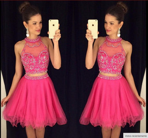 2021 Newest Beaded Cheap Two Pieces Homecoming Dresses A line Crew Tulle Sexy Party Cocktail Dresses