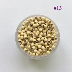 (1000 шт. / Банка) 13 # Блондинка 2.9x1.6x2.0mm Медь с силиконовой подкладкой нано звеньев, RingsTubes для нано-бусин